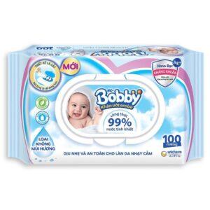 Khăn ướt Bobby không mùi 100 miếng