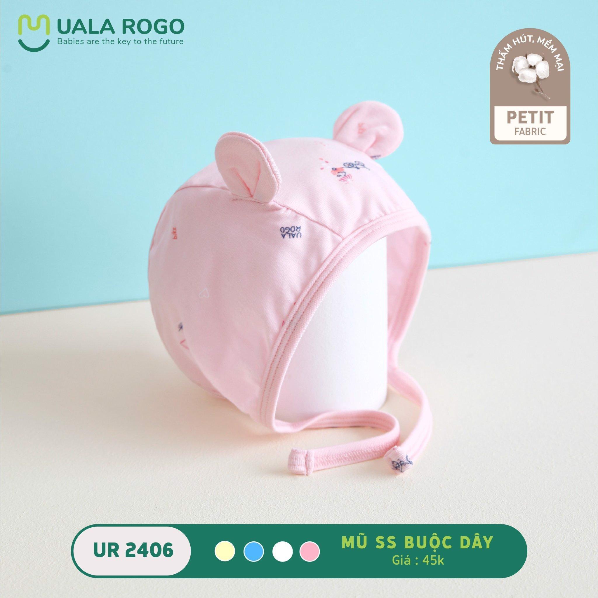 Mũ sơ sinh tai thỏ buộc dây Ualarogo - UR2406